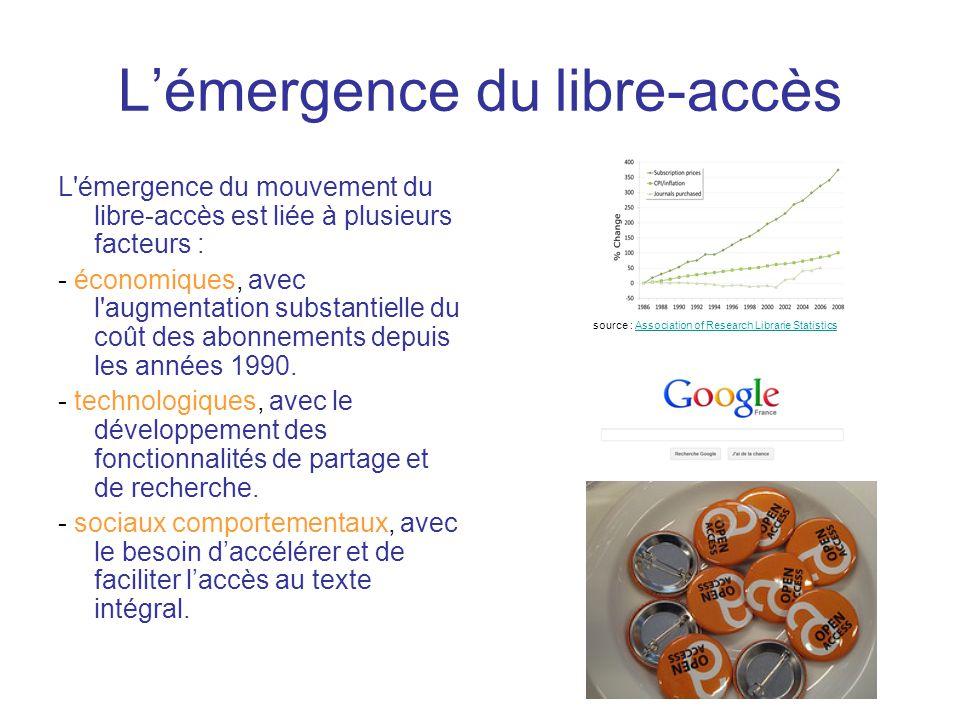 L'émergence du libre-accès L émergence du mouvement du libre-accès est liée à plusieurs facteurs : - économiques, avec l augmentation substantielle du coût des abonnements depuis les années 1990.