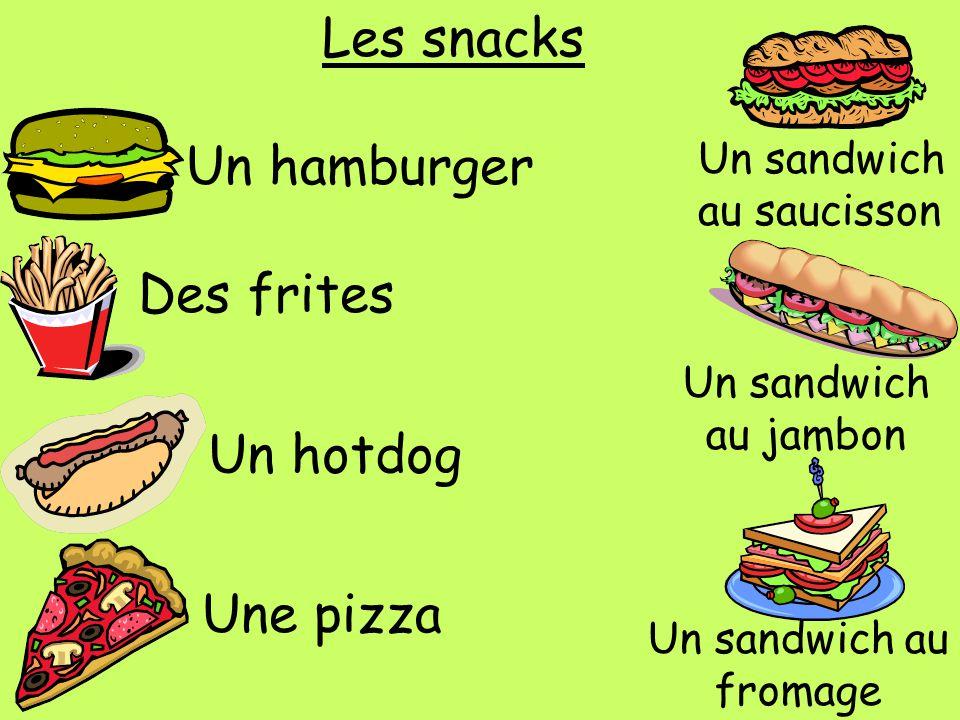 Les snacks Un hamburger Des frites Un hotdog Une pizza Un sandwich au saucisson Un sandwich au jambon Un sandwich au fromage