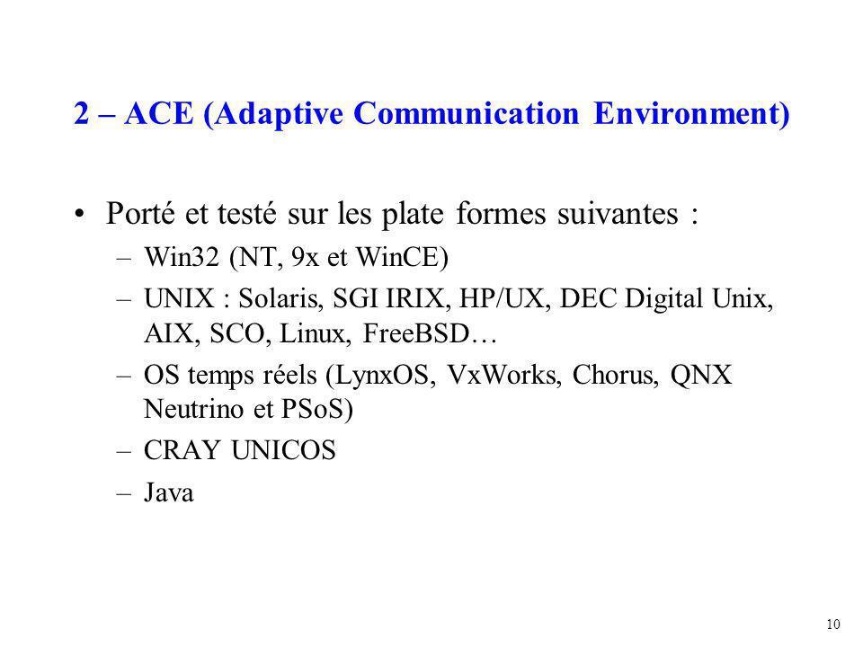 10 2 – ACE (Adaptive Communication Environment) Porté et testé sur les plate formes suivantes : –Win32 (NT, 9x et WinCE) –UNIX : Solaris, SGI IRIX, HP/UX, DEC Digital Unix, AIX, SCO, Linux, FreeBSD… –OS temps réels (LynxOS, VxWorks, Chorus, QNX Neutrino et PSoS) –CRAY UNICOS –Java