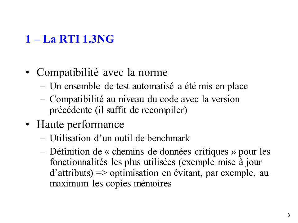3 1 – La RTI 1.3NG Compatibilité avec la norme –Un ensemble de test automatisé a été mis en place –Compatibilité au niveau du code avec la version précédente (il suffit de recompiler) Haute performance –Utilisation d'un outil de benchmark –Définition de « chemins de données critiques » pour les fonctionnalités les plus utilisées (exemple mise à jour d'attributs) => optimisation en évitant, par exemple, au maximum les copies mémoires
