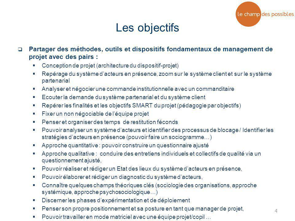 4  Partager des méthodes, outils et dispositifs fondamentaux de management de projet avec des pairs :  Conception de projet (architecture du disposi
