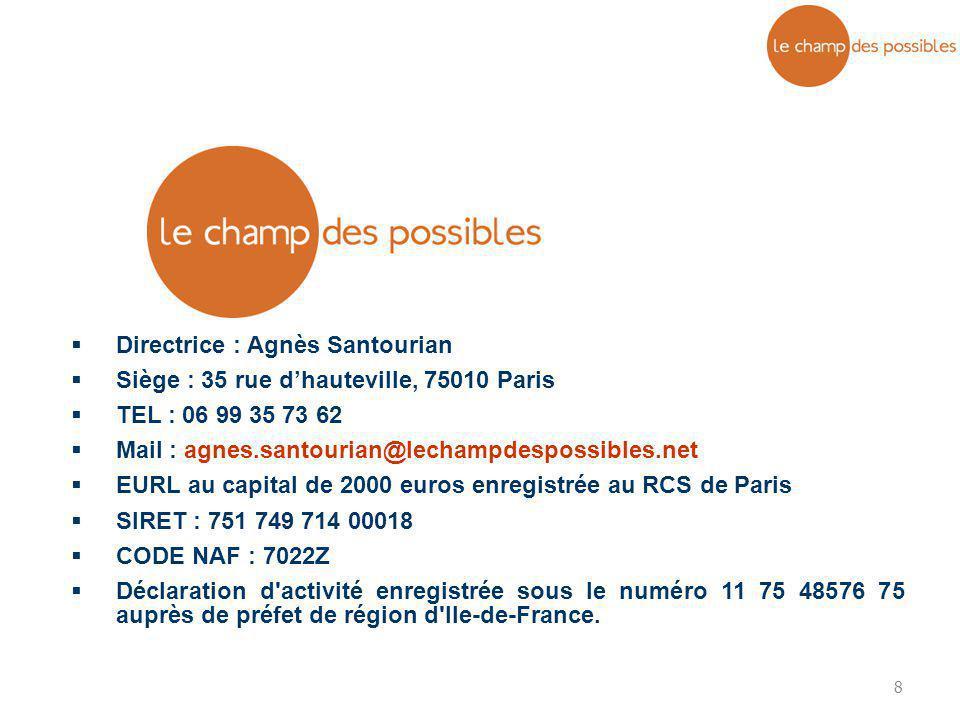 8  Directrice : Agnès Santourian  Siège : 35 rue d'hauteville, 75010 Paris  TEL : 06 99 35 73 62  Mail : agnes.santourian@lechampdespossibles.net
