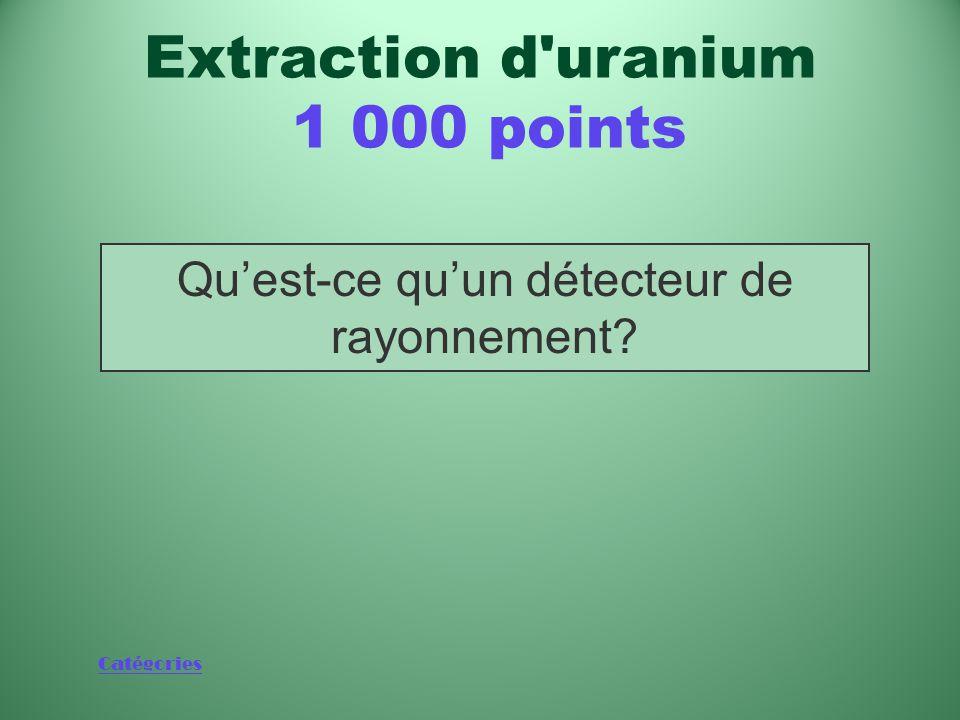 Catégories Dispositifs dont on équipe aujourd'hui les avions qui survolent à basse altitude les régions susceptibles de renfermer de l'uranium Extraction d uranium 1 000 points