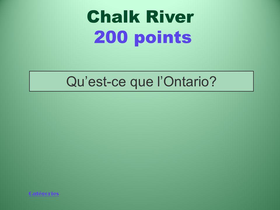 Catégories Province où sont situés les Laboratoires de Chalk River Chalk River 200 points