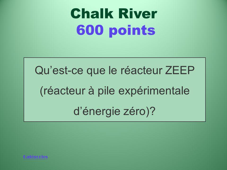 Catégories Nom du prototype de petit réacteur de faible puissance construit à Chalk River à l'automne 1945 Chalk River 600 points
