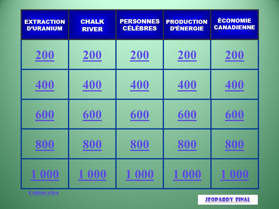 Catégories 1 000 800 600 400 200 JeopardyJeopardy Final ÉCONOMIE CANADIENNE PRODUCTION D'ÉNERGIE PERSONNES CÉLÈBRES CHALK RIVER EXTRACTION D'URANIUM