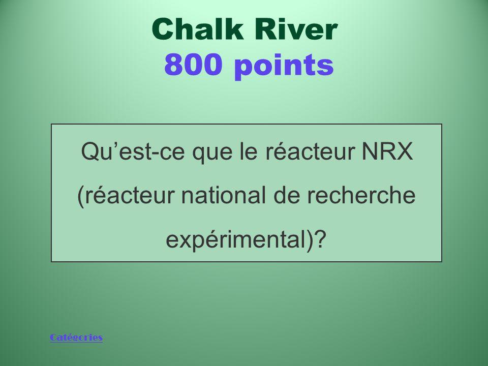 Catégories Réacteur de recherche qui a été le plus puissant du monde pendant un certain temps Chalk River 800 points