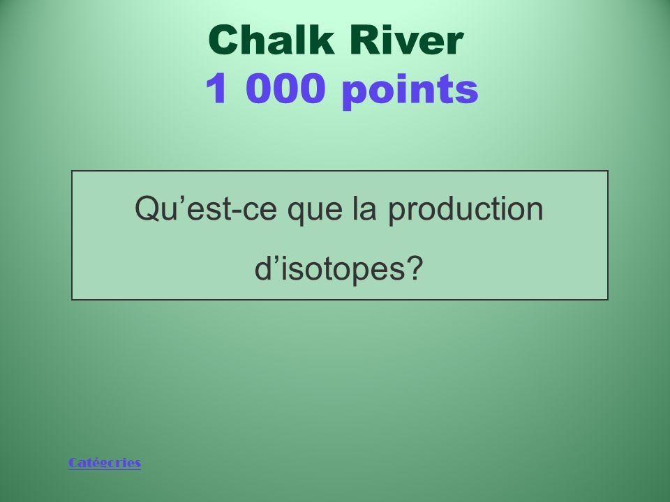 Catégories L'une des premières et des principales applications du réacteur NRX Chalk River 1 000 points