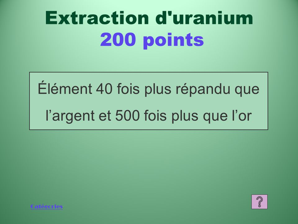 Catégories 1 000 800 600 400 200 JeopardyJeopardy Final ÉCONOMIE CANADIENNE PRODUCTION D'ÉNERGIE PERSONNES CÉLÈBRES CHALK RIVER EXTRACTION D'URANIUM