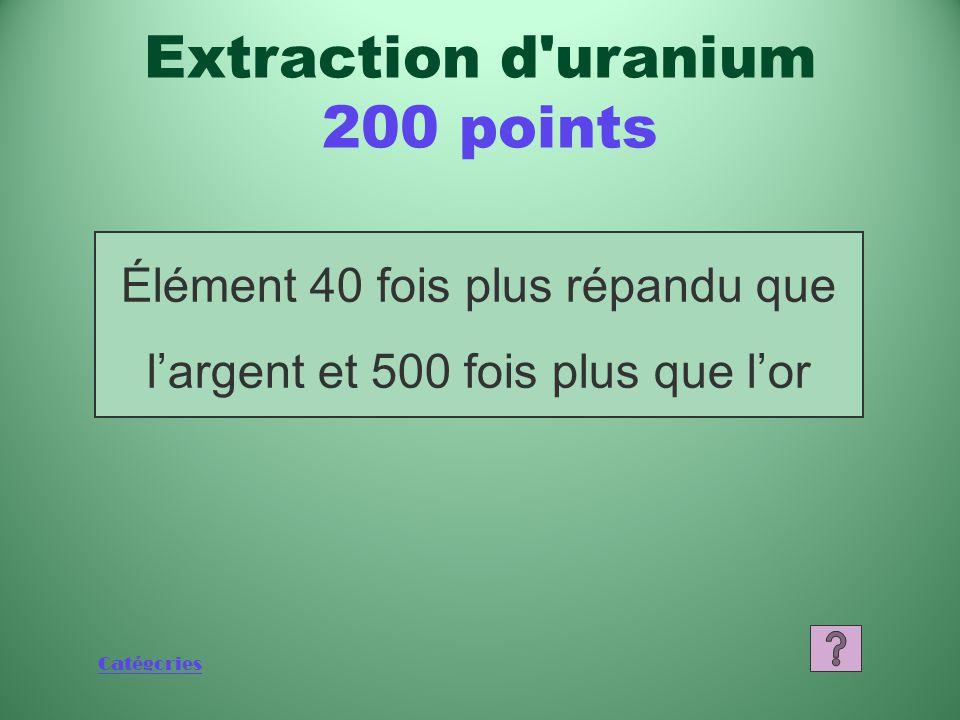 Catégories Élément 40 fois plus répandu que l'argent et 500 fois plus que l'or Extraction d uranium 200 points