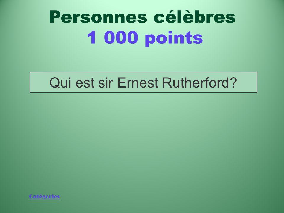 Catégories Scientifique qui a remporté le prix Nobel de chimie en 1908 pour ses travaux réalisés à l'Université McGill de Montréal Personnes célèbres 1 000 points