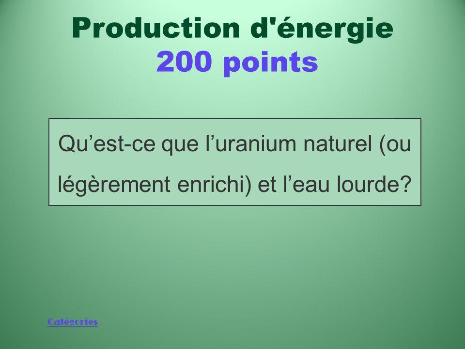 Catégories Combustible et modérateur utilisés dans les réacteurs CANDU Production d énergie 200 points