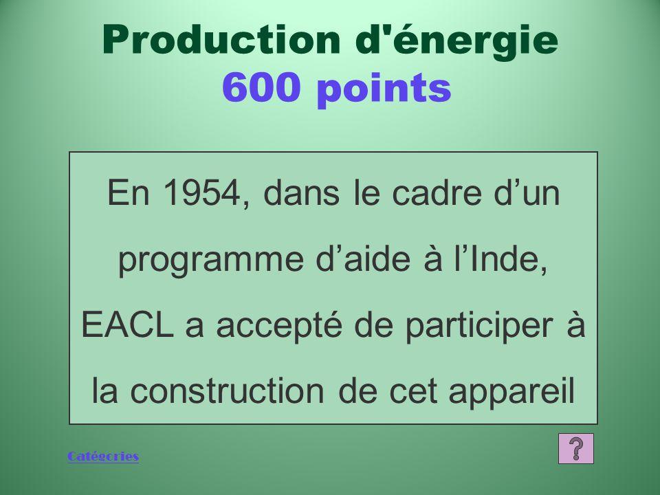 Catégories Qu'est-ce que sept (Y compris le Canada) Production d énergie 400 points