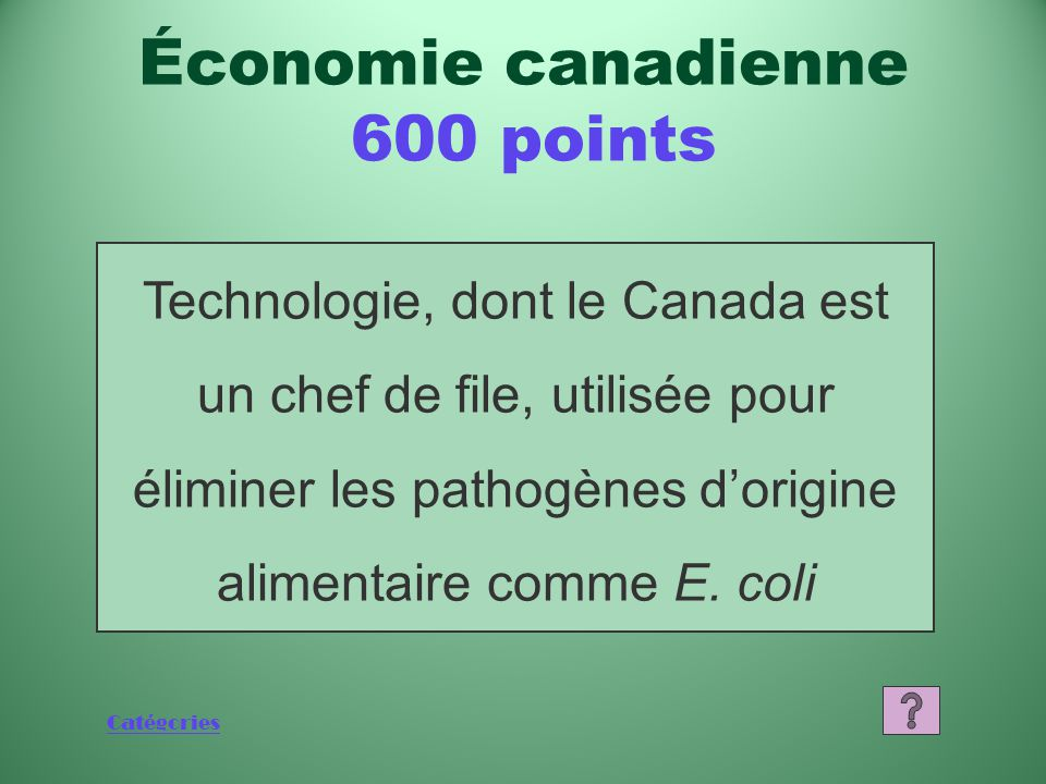 Catégories Qu'est-ce que 50 % Économie canadienne 400 points