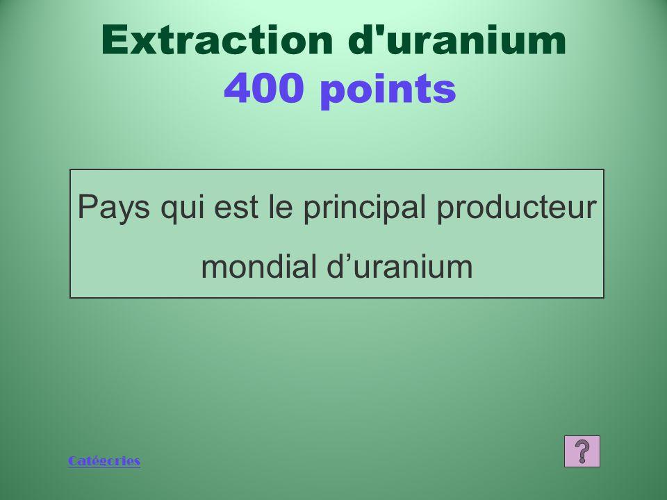 Catégories Nombre de pays maintenant dotés de réacteurs CANDU Production d énergie 400 points