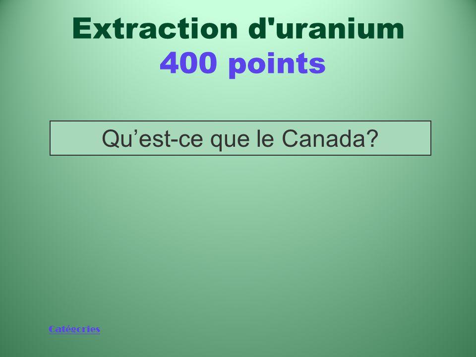 Catégories Qu'est-ce que sept? (Y compris le Canada) Production d énergie 400 points