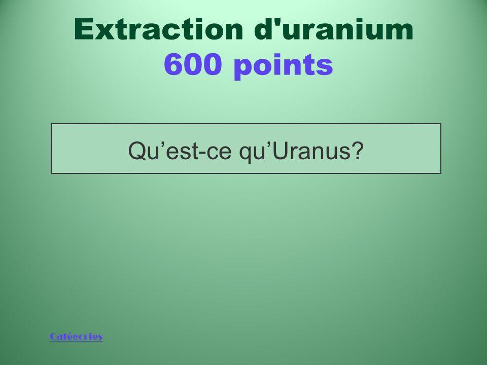 Catégories Qu'est-ce qu'Uranus? Extraction d uranium 600 points