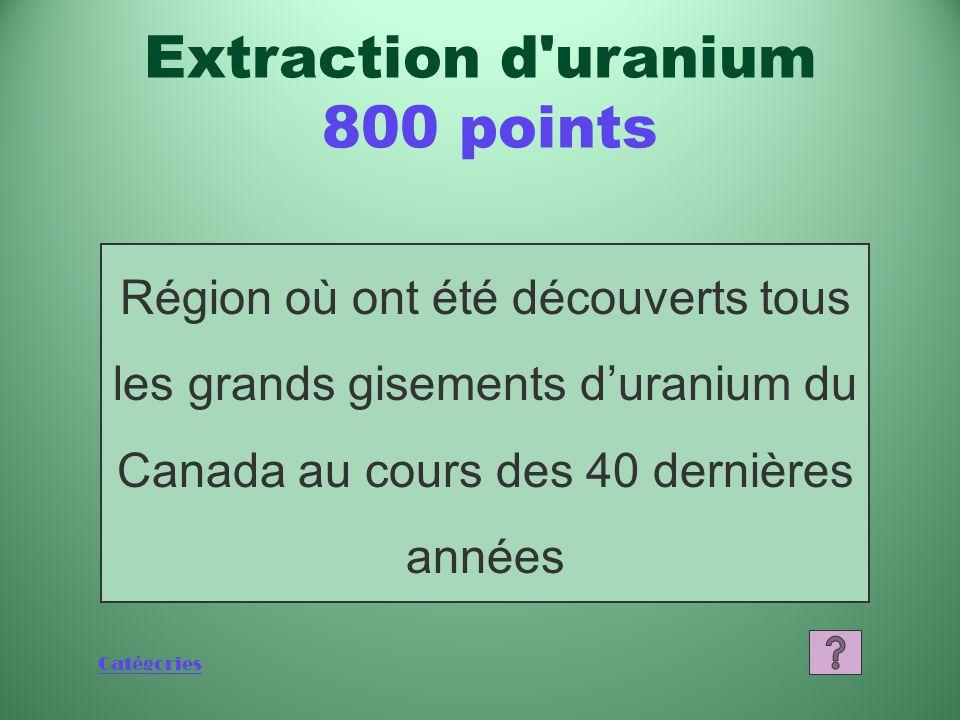 Catégories Région où ont été découverts tous les grands gisements d'uranium du Canada au cours des 40 dernières années Extraction d uranium 800 points