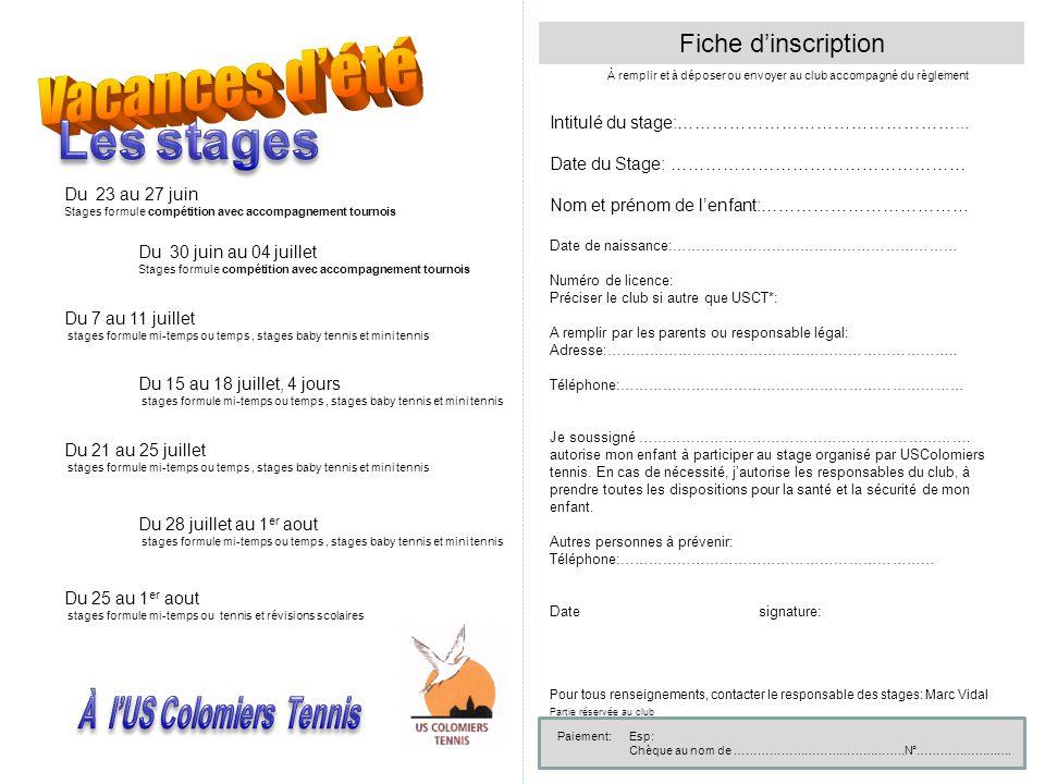 Fiche d'inscription À remplir et à déposer ou envoyer au club accompagné du règlement Intitulé du stage:…………………………………………... Date du Stage: ……………………………