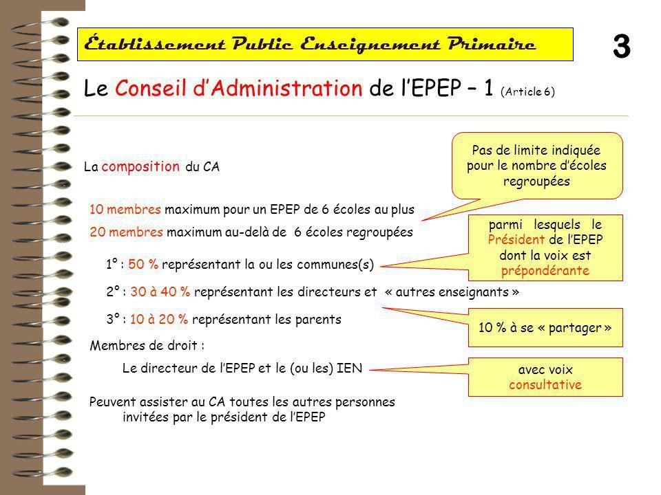 3 Établissement Public Enseignement Primaire Le Conseil d'Administration de l'EPEP – 1 (Article 6) La composition du CA parmi lesquels le Président de l'EPEP dont la voix est prépondérante avec voix consultative Pas de limite indiquée pour le nombre d'écoles regroupées 10 membres maximum pour un EPEP de 6 écoles au plus 20 membres maximum au-delà de 6 écoles regroupées 1° : 50 % représentant la ou les communes(s) 2° : 30 à 40 % représentant les directeurs et « autres enseignants » 3° : 10 à 20 % représentant les parents Membres de droit : Le directeur de l'EPEP et le (ou les) IEN Peuvent assister au CA toutes les autres personnes invitées par le président de l'EPEP 10 % à se « partager »
