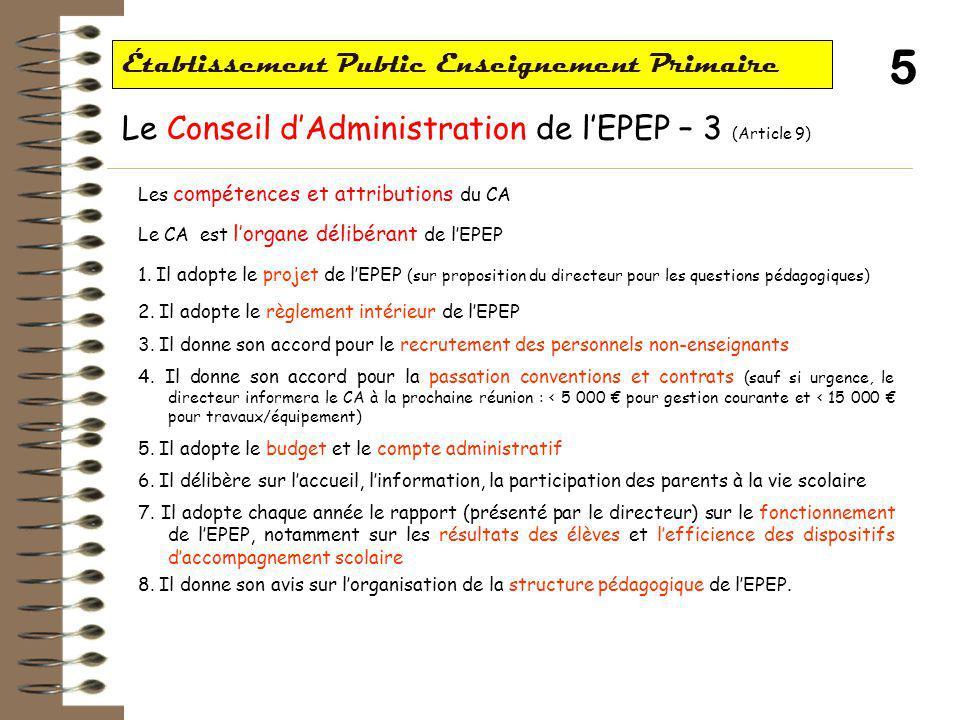 6 Établissement Public Enseignement Primaire Le directeur de l'EPEP (Article 10-11) Le directeur est désigné par l' « l'autorité académique » (IA, Recteur ?) Il assiste au CA avec voix consultative Il propose au président la partie pédagogique de l'ordre du jour du CA Le directeur est l'organe exécutif de l'EPEP : 1.Prépare et exécute les délibérations du CA (dont projet et budget) 2.Ordonne les dépenses et prescrit l'exécution des recettes de l'EPEP 3.Réunit « en tant que besoin » les directeurs et enseignants des écoles de l'EPEP pour élaboration et suivi du projet 4.A compétence pour recruter les personnels non-enseignants (avec accord du CA) 5.Conclut les conventions et contrats au nom de l'EPEP (avec accord du CA) 6.Transmet les actes de l'EPEP aux autorités 7.Représente l'EPEP en justice et dans les actes de la vie civile 8.Établit et présente chaque année le rapport sur le fonctionnement de l'EPEP, notamment sur les résultats des élèves et l'efficience des dispositifs d'accompagnement scolaire.