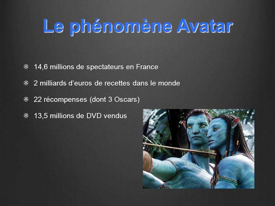 Le phénomène Avatar 14,6 millions de spectateurs en France 2 milliards d'euros de recettes dans le monde 22 récompenses (dont 3 Oscars) 13,5 millions