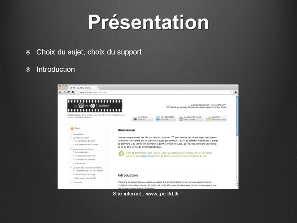 Présentation Site internet : www.tpe-3d.tk Choix du sujet, choix du support Introduction
