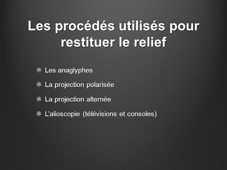 Les procédés utilisés pour restituer le relief Les anaglyphes La projection polarisée La projection alternée L'alioscopie (télévisions et consoles)