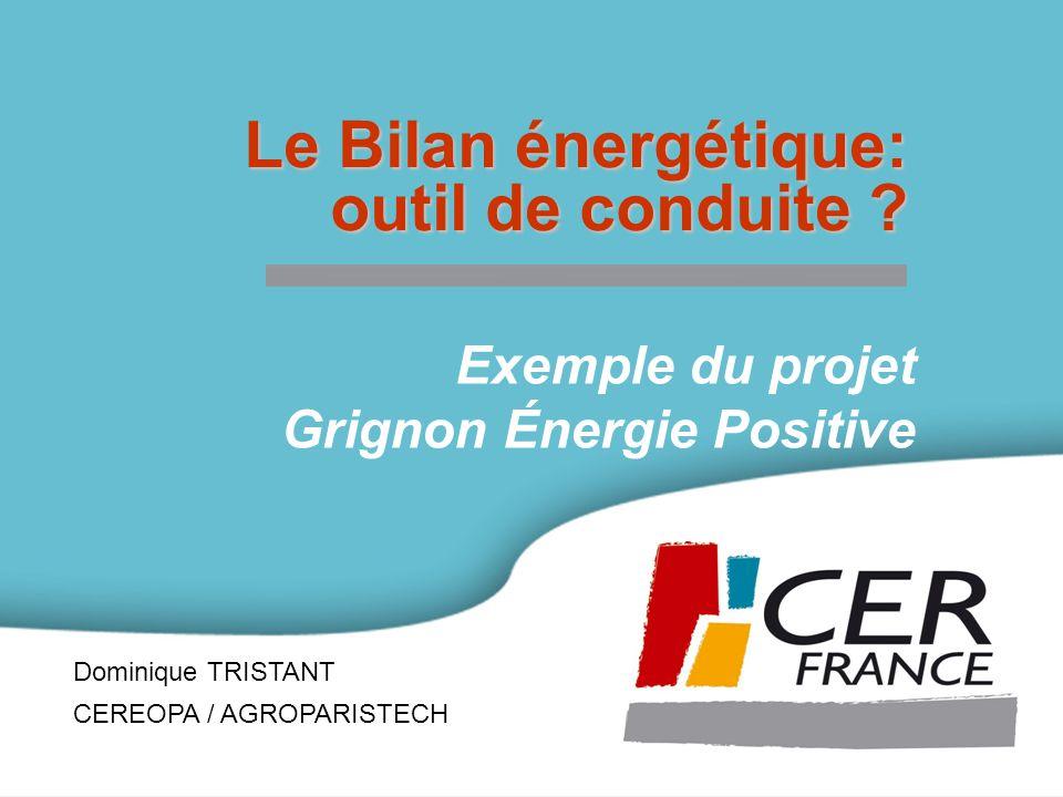 Dominique TRISTANT CEREOPA / AGROPARISTECH Le Bilan énergétique: outil de conduite .