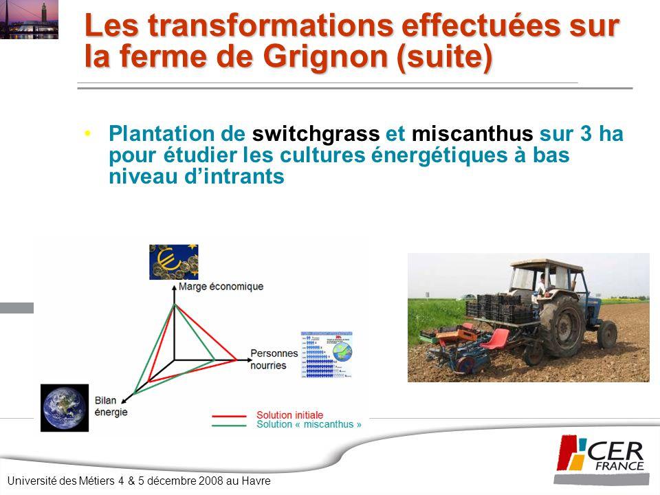 Université des Métiers 4 & 5 décembre 2008 au Havre Les transformations effectuées sur la ferme de Grignon (suite) Plantation de switchgrass et miscanthus sur 3 ha pour étudier les cultures énergétiques à bas niveau d'intrants