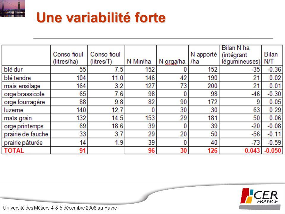 Université des Métiers 4 & 5 décembre 2008 au Havre Une variabilité forte
