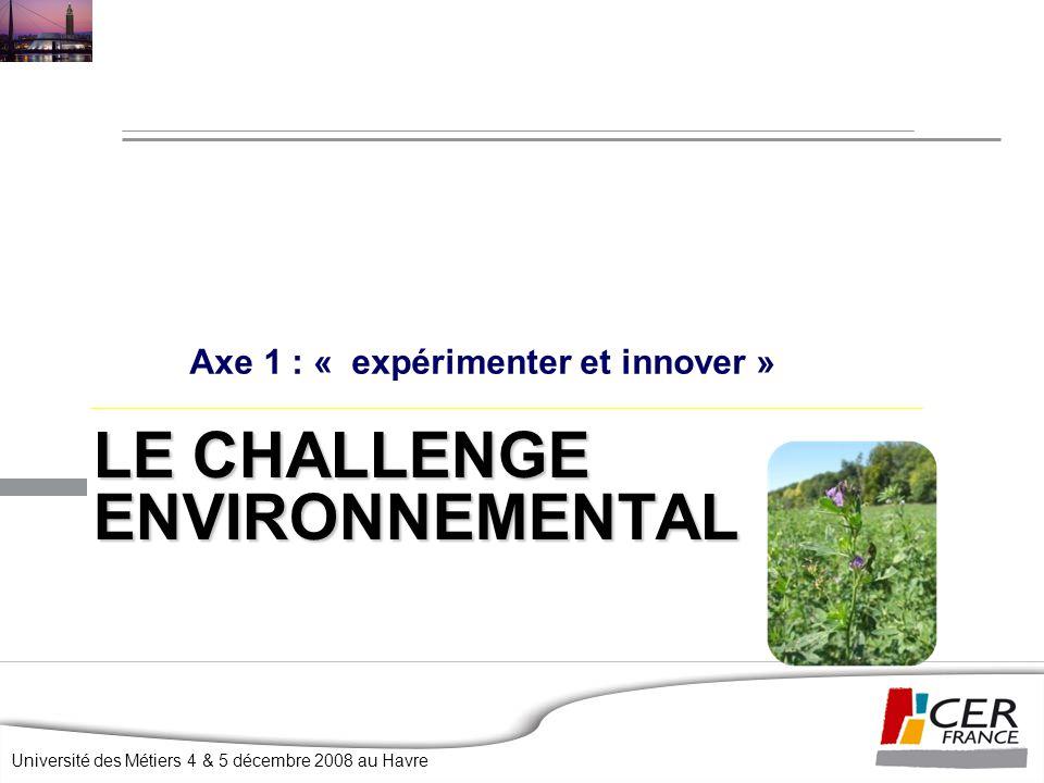 Université des Métiers 4 & 5 décembre 2008 au Havre LE CHALLENGE ENVIRONNEMENTAL Axe 1 : « expérimenter et innover »