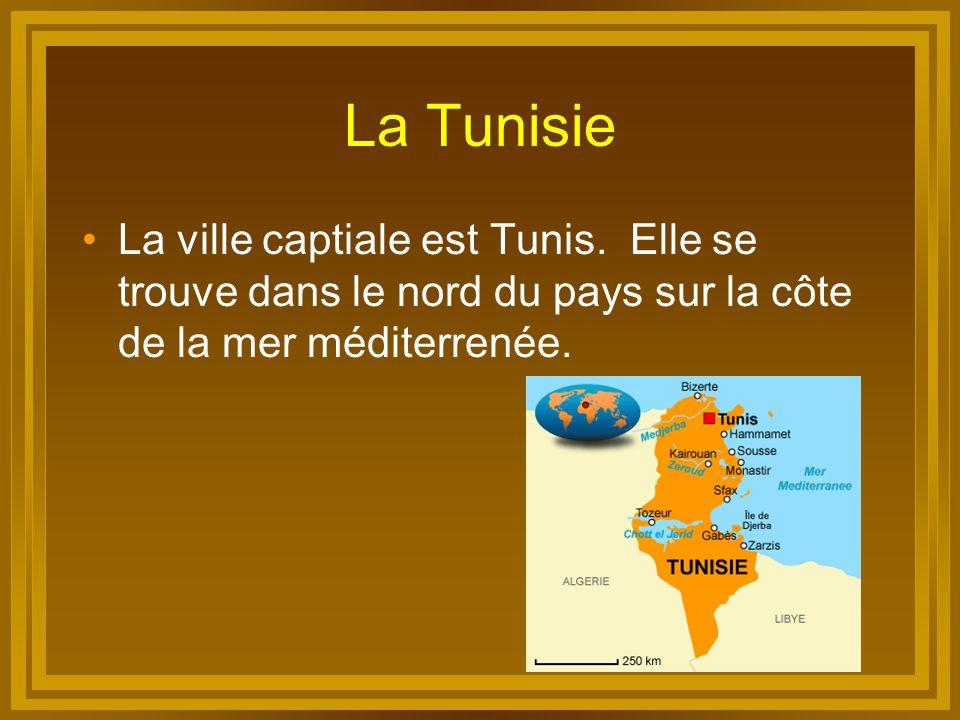 La Tunisie La ville captiale est Tunis. Elle se trouve dans le nord du pays sur la côte de la mer méditerrenée.