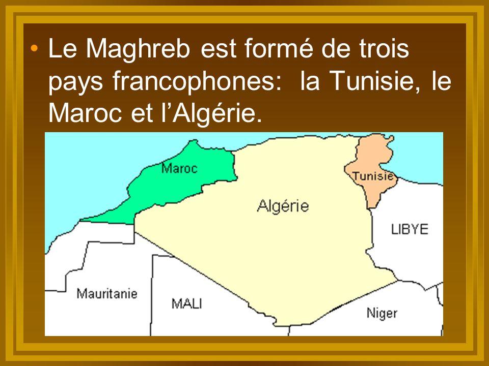 Le Maghreb est formé de trois pays francophones: la Tunisie, le Maroc et l'Algérie.