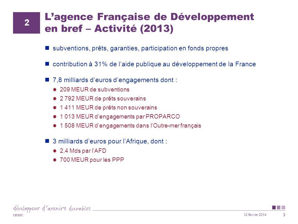 12 février 2014 CESOC 4 L'agence Française de Développement en bref – Activité (2013) Répartition sectorielle : infrastructures (y compris énergie et développement urbain) : 50% secteur productif : 6% eau assainissement : 18% environnement et ressources naturelles : 9,5% agriculture et sécurité alimentaires : 4,5% secteurs sociaux : 12% autres 3
