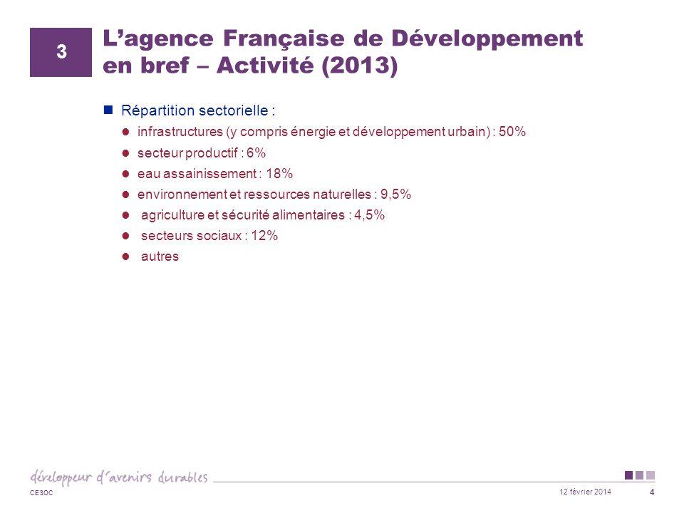 12 février 2014 CESOC 4 L'agence Française de Développement en bref – Activité (2013) Répartition sectorielle : infrastructures (y compris énergie et