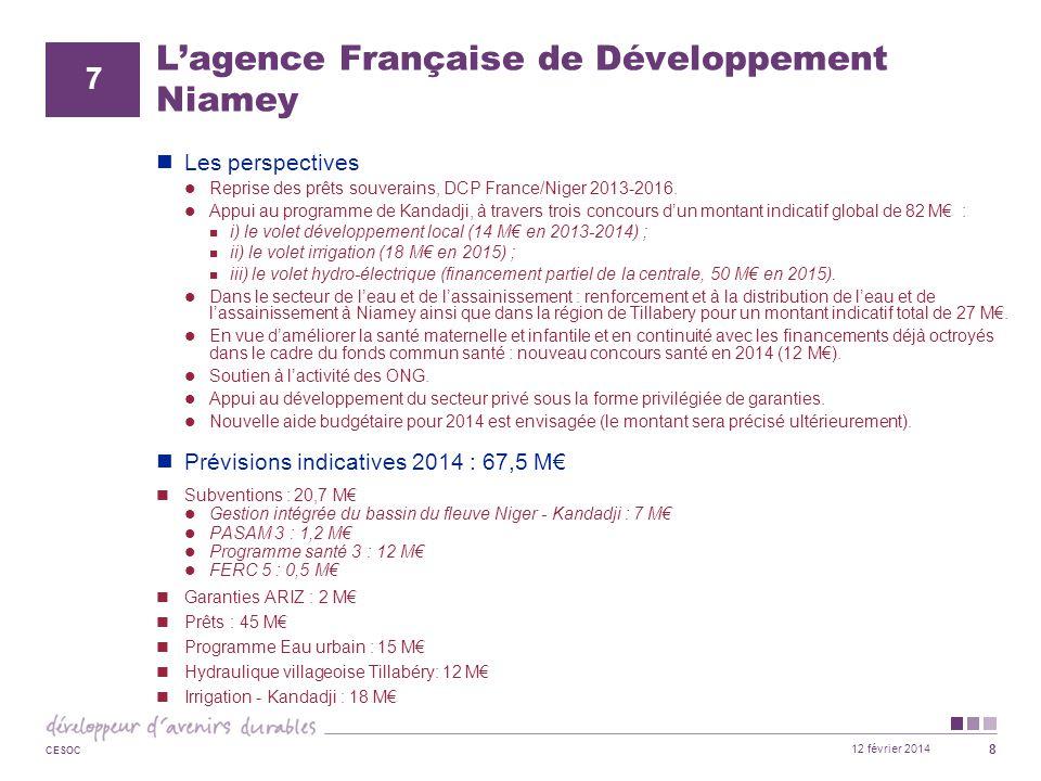 12 février 2014 CESOC 8 L'agence Française de Développement Niamey Les perspectives Reprise des prêts souverains, DCP France/Niger 2013-2016. Appui au