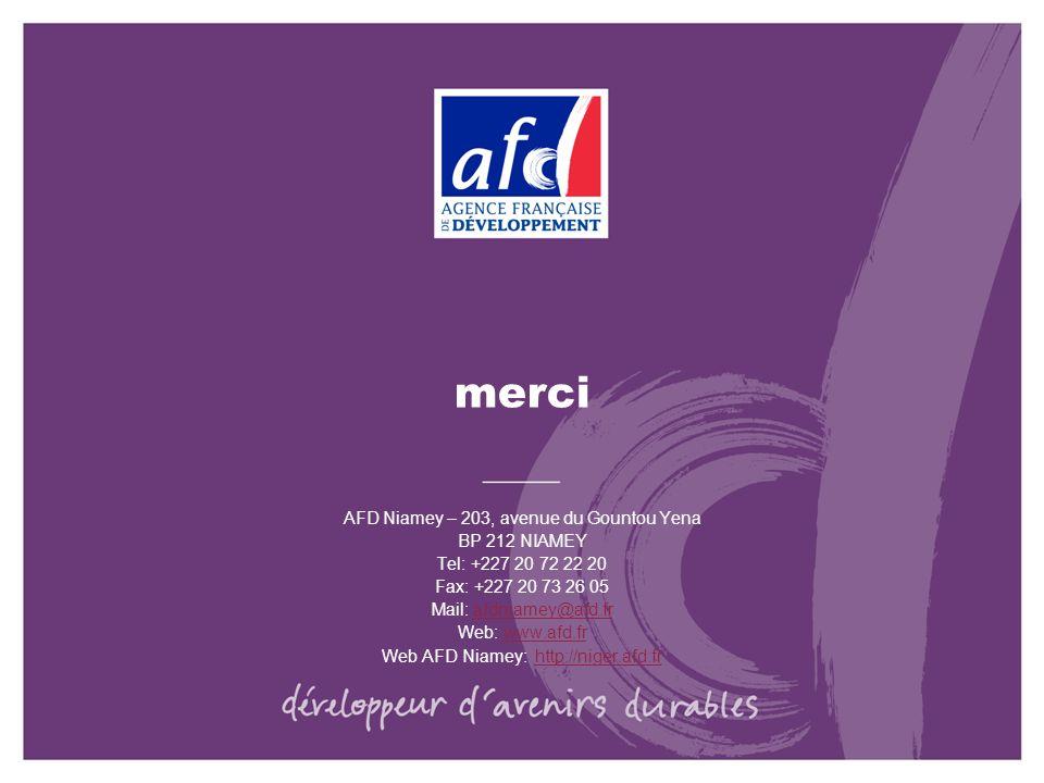 merci AFD Niamey – 203, avenue du Gountou Yena BP 212 NIAMEY Tel: +227 20 72 22 20 Fax: +227 20 73 26 05 Mail: afdniamey@afd.frafdniamey@afd.fr Web: w