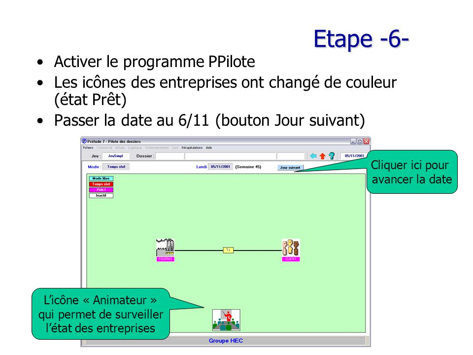 Etape -6- Activer le programme PPilote Les icônes des entreprises ont changé de couleur (état Prêt) Passer la date au 6/11 (bouton Jour suivant) L'icône « Animateur » qui permet de surveiller l'état des entreprises Cliquer ici pour avancer la date