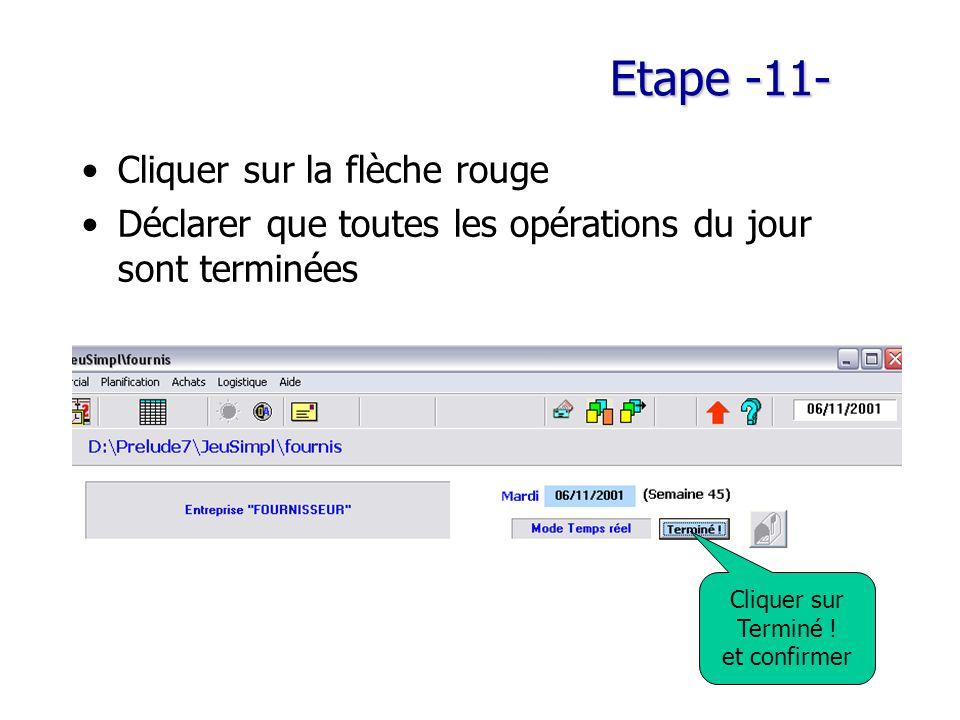 Etape -11- Cliquer sur la flèche rouge Déclarer que toutes les opérations du jour sont terminées Cliquer sur Terminé ! et confirmer