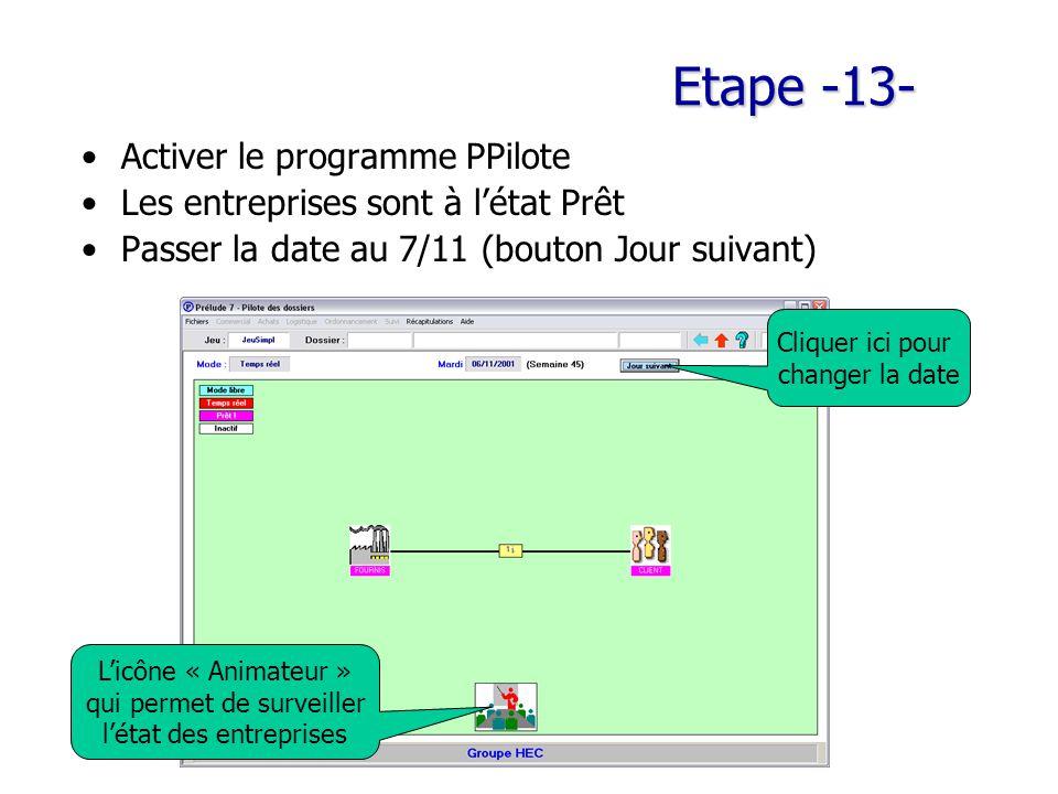 Etape -13- Activer le programme PPilote Les entreprises sont à l'état Prêt Passer la date au 7/11 (bouton Jour suivant) L'icône « Animateur » qui permet de surveiller l'état des entreprises Cliquer ici pour changer la date
