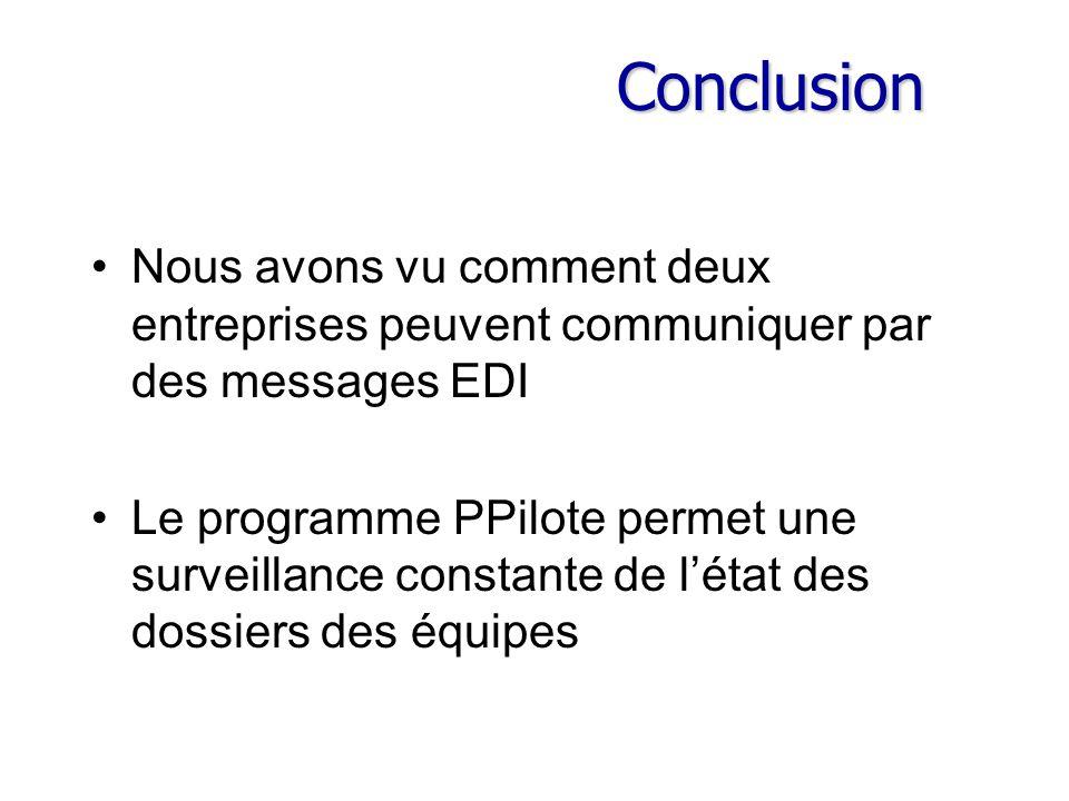 Conclusion Nous avons vu comment deux entreprises peuvent communiquer par des messages EDI Le programme PPilote permet une surveillance constante de l'état des dossiers des équipes