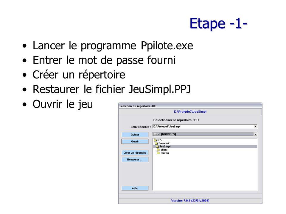 Etape -1- Lancer le programme Ppilote.exe Entrer le mot de passe fourni Créer un répertoire Restaurer le fichier JeuSimpl.PPJ Ouvrir le jeu