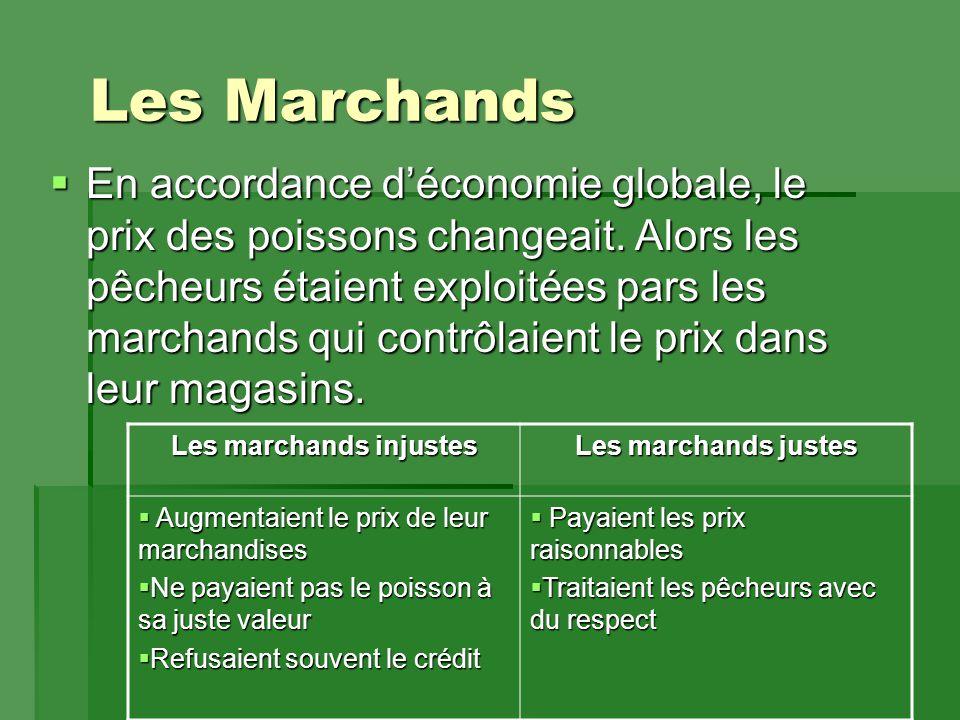 Les Marchands  En accordance d'économie globale, le prix des poissons changeait.