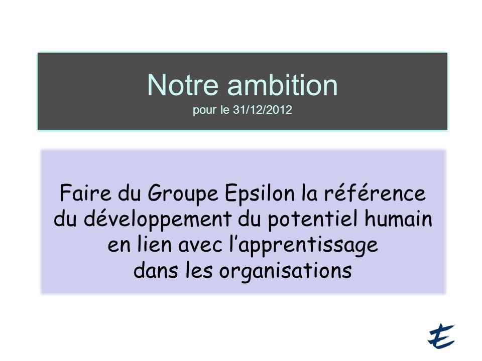 Notre ambition pour le 31/12/2012 Faire du Groupe Epsilon la référence du développement du potentiel humain en lien avec l'apprentissage dans les orga