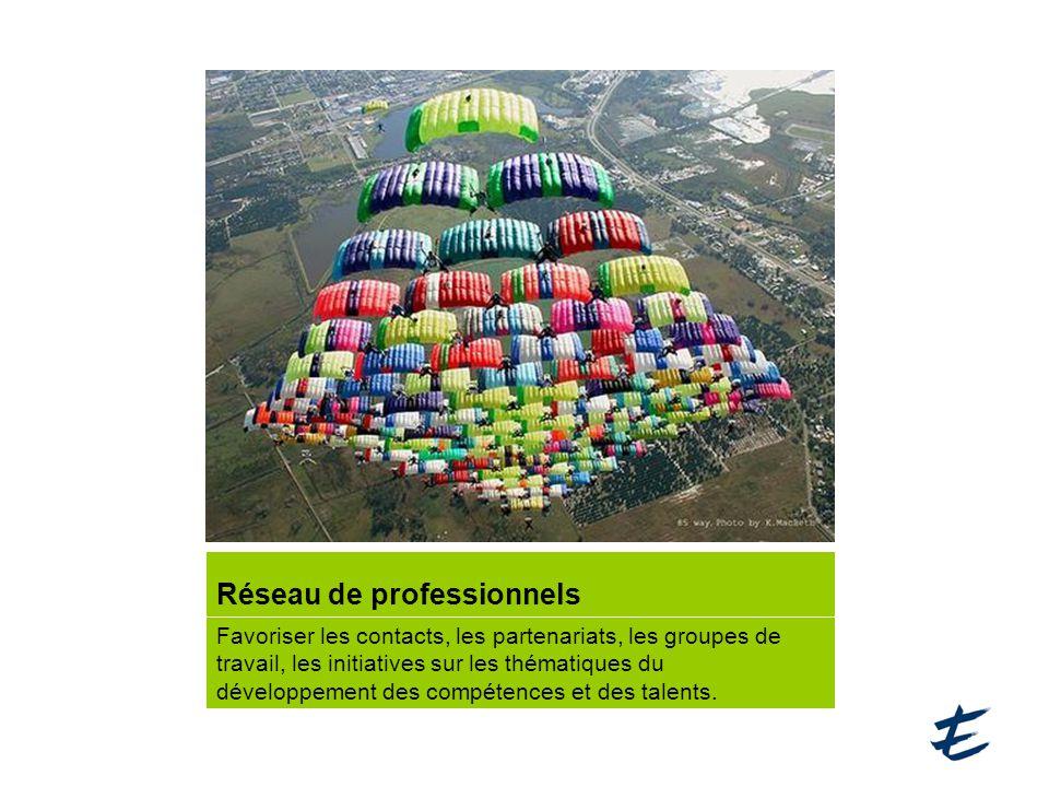 Réseau de professionnels Favoriser les contacts, les partenariats, les groupes de travail, les initiatives sur les thématiques du développement des compétences et des talents.