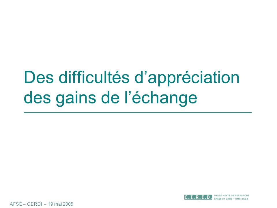 Des difficultés d'appréciation des gains de l'échange AFSE – CERDI – 19 mai 2005