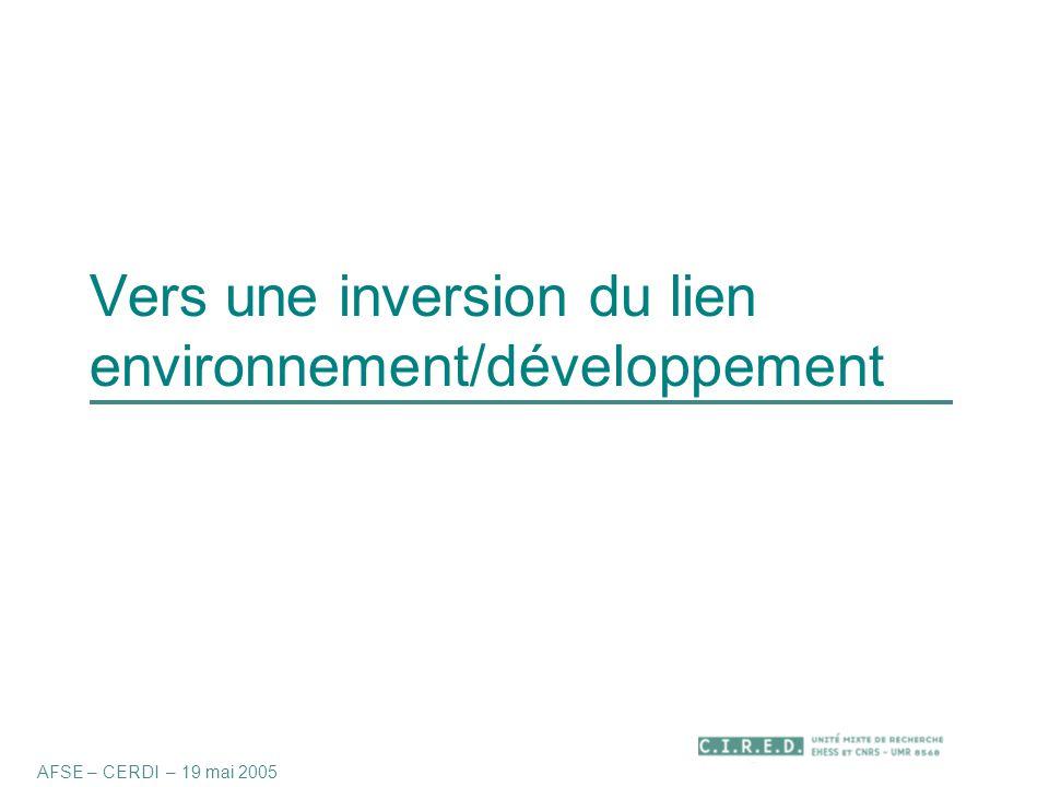 Vers une inversion du lien environnement/développement AFSE – CERDI – 19 mai 2005