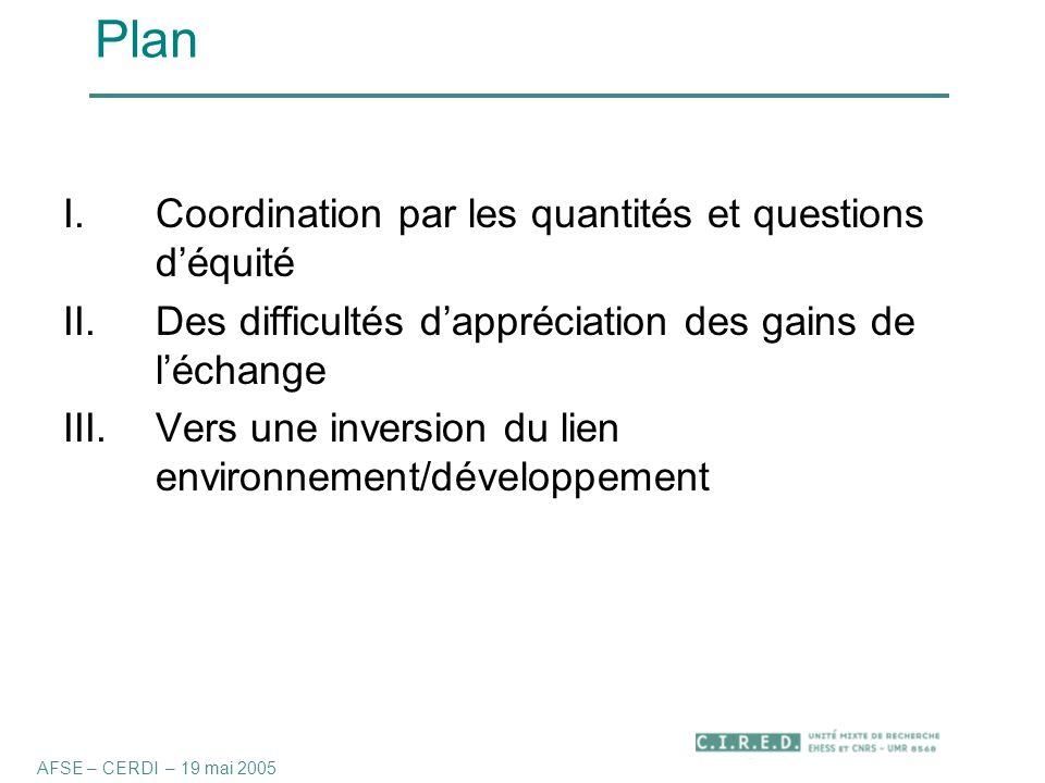 Plan I.Coordination par les quantités et questions d'équité II.Des difficultés d'appréciation des gains de l'échange III.Vers une inversion du lien environnement/développement AFSE – CERDI – 19 mai 2005