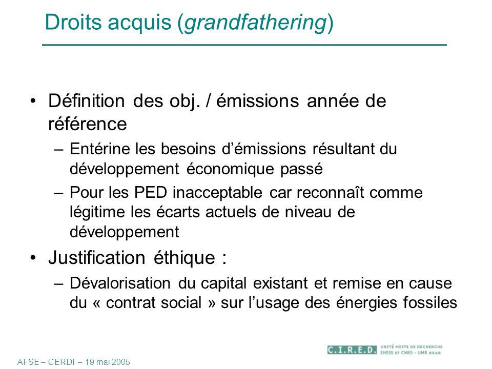 Droits acquis (grandfathering) Définition des obj.